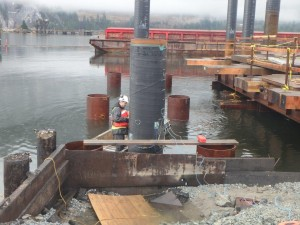 Photo 1 - Installation of PDA gauges on Pile 1F
