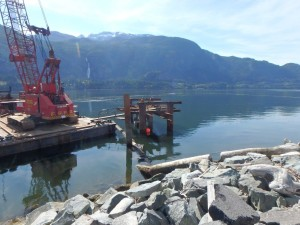 Photo 3 - Installation of south mooring dolphin pile driving frame