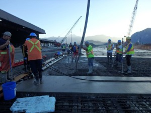 Early morning concrete pours to avoid the heat!