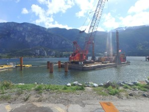 Photo 1 - Installing north mooring dolphin falsework