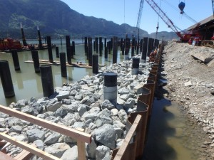Photo 1 - Riprap installed adjacent bulkhead wall
