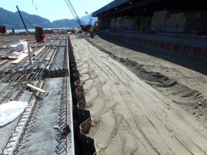 Photo 2 - Backfill behind bulkhead wall