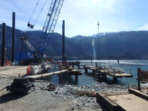 Photo 2 - Installation of last wharf pile driving frame