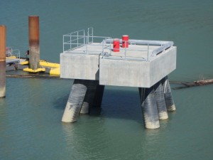 Photo 2 - North mooring dolphin with bullrial and handrail installed
