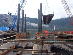 Photo 2 - Placing pile driving frame on Bent 13