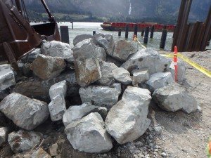 Photo 3 - Riprap delivered from quarry, ready for placement on offshore ...